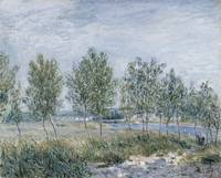 ALFRED SISLEY, POPLARS ON A RIVER BANK
