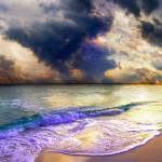 """panoramic blue clouds beach sunset"" by eszra"