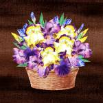 """Basket With Iris Flowers"" by IrinaSztukowski"
