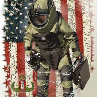 EOD usflag Framed stars and USMapV Art Prints & Posters by Ken Chandler