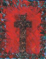 Red Abstract Cross Painting
