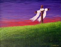 Cross In Red And Purple Sunset