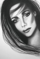 MICHELLINE - Original Charcoal Drawing by Lee Wild