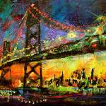 """Bridge at night City Lights"" by GinetteCallaway"