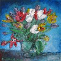 Still Life Floral Blue Room Tulips Bouquet Vase