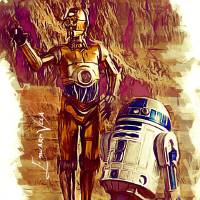 C-3PO_&_R2-D2_Star_Wars Art Prints & Posters by Edward Vela