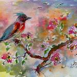 """Spring Bird Fantasy Watercolor and Ink"" by GinetteCallaway"