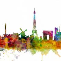 Paris France Skyline Panoramic Art Prints & Posters by Michael Tompsett