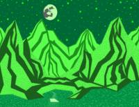 Moonlit mountains-Green