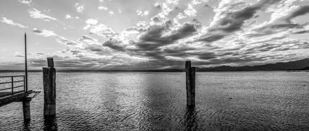 BW Panoramic View On The Sunset Over Lake Garda Ha