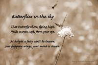 Butterflies in the sky - sepia