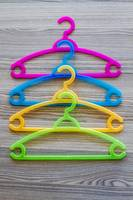 Colorful modern plastic clothes hangers