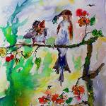 """Feeding the Baby Bird Watercolor Art"" by GinetteCallaway"