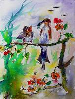 Feeding the Baby Bird Watercolor Art