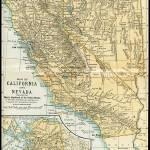 """California Nevada Alaska Antique Map 1891"" by WilshireImages"