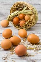 Natural brown eggs fallen from straw basket