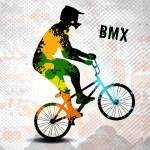 """BMX Rider in Abstract Paint Splatters SQ WITH TEXT"" by ElainePlesser"