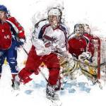 """Three Hockey Players at the Goal"" by ElainePlesser"