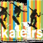 """Pen and Ink Skateboarder Jumping Orange Stripes"" by ElainePlesser"