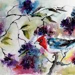 """Bird in Elder Berries Watercolor by Ginette"" by GinetteCallaway"