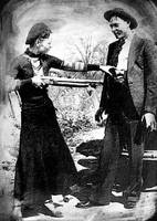 Painting Of Bonnie And Clyde Mock Hold Up Black An