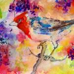"""Bird in Berry Tree Modern Mixed Media"" by GinetteCallaway"
