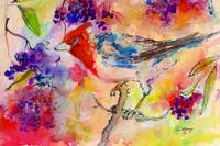 Bird in Berry Tree Modern Mixed Media