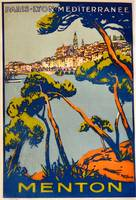 1925 Menton poster by Roger Broders