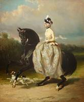 Alfred de Dreux , A young horsewoman with the yell