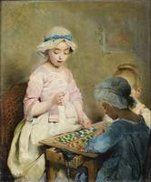 Charles Chaplin 1825 - 1891 GIRLS PLAYING LOTO