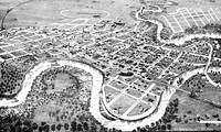 1882 aerial view of Crookston etching
