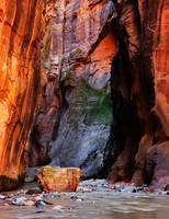 Zion Narrows With Boulder