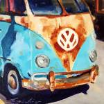 """Rust, White and Blue"" by jacquelinebrewerart"