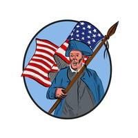 American Patriot Carrying USA Flag Circle Drawing