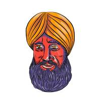 Sikh Turban Beard Watercolor