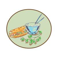 Bánh Mì Sandwich and Rice Bowl Drawing