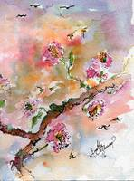 Spring Blossoms Tree Whimsical Watercolor and Ink