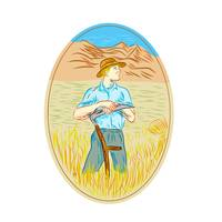 Wheat Organic Farmer Scythe Oval Drawing
