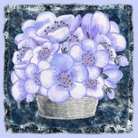 Basket With Blue Flowers