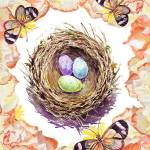 """Easter Nest Roses And Butterflies"" by IrinaSztukowski"