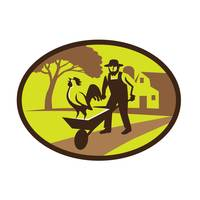 Amish Farmer Rooster Wheelbarrow Farm Oval Retro