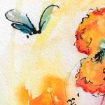 """Pansy Inspection Watercolor and Ink"" by GinetteCallaway"