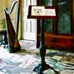 """Music Room With Harp"" by susansartgallery"