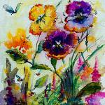 """Pansies and Bees in my Garden Watercolor"" by GinetteCallaway"