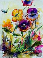 Pansies and Bees in my Garden Watercolor