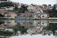 Buildings Reflected in Lake Yaraucocha