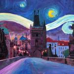 """Starry Night in Prague - Van Gogh Inspirations on"" by arthop77"