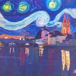 """Starry Night in Regensburg - Van Gogh Inspirations"" by arthop77"
