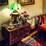 """Cozy Parlor with Flower Petal Lamp"" by susansartgallery"