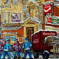 MOE'S CORNER SNACK BAR MONTREAL WINTER HOCKEY SCEN Art Prints & Posters by CAROLE SPANDAU